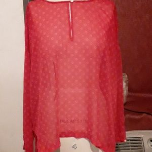 Old Navy sheer red blouse